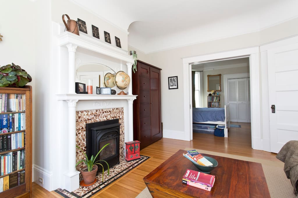 Gas fireplace in the front  bedroom. Note: coffee table is no longer in this room.
