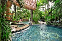 Hot Springs are surrounded by lush tropical gardens, sit back relax and enjoy the spectacular views while exploring the variety of pools ranging in temperature from 89 -152 degrees Fahrenheit (31-66 Celsius).