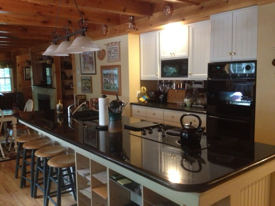 All that you expect from a custom log home--beamed ceilings, hardwood floors, granite counters, double ovens, huge island for entertaining.