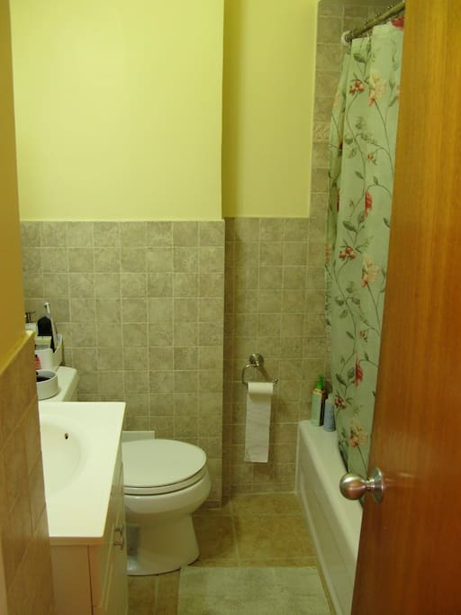 bathroom, towels, hair dryer provided
