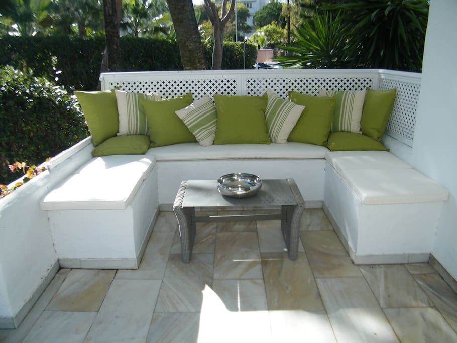 Sip chilled wine or drink filtered coffee al fresco