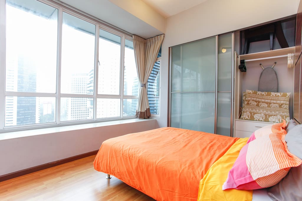 Bright and airy studio apartment with a queen bed