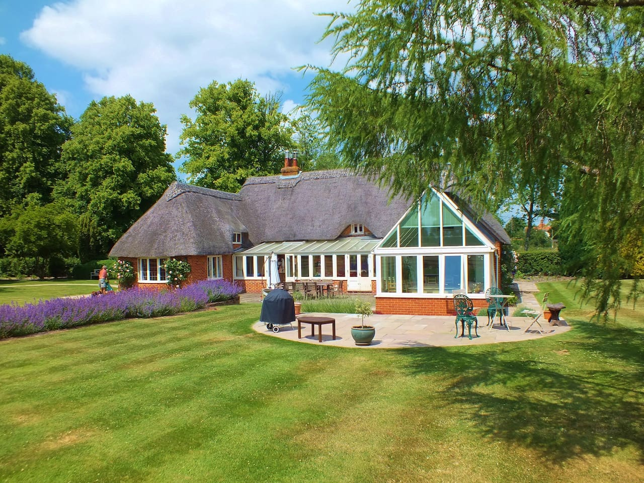 thatched roof, modern spacious, private