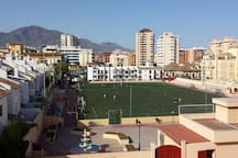 The view towards the local fotball ground