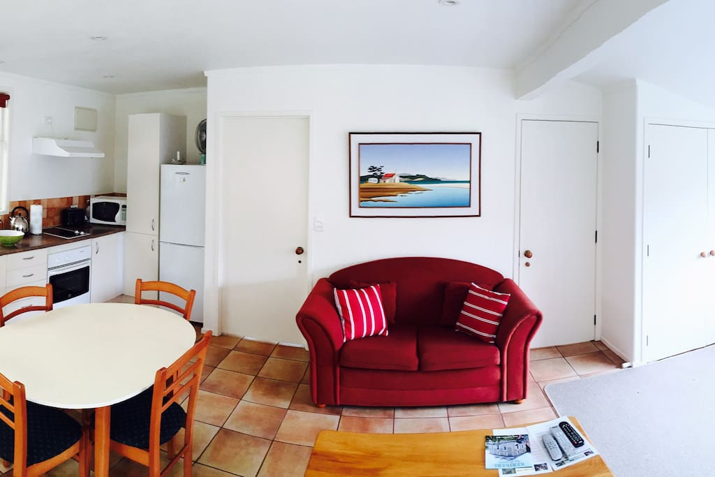 Accommodation includes studio with queen size bed, satellite TV and DVD. Separate loft with two single beds upstairs.