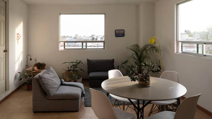 Cómoda Habitación Privada en el corazón de Cholula