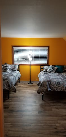 Bedroom #4 with 2 queen beds plus work station