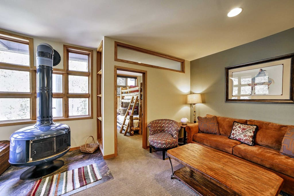 Warm your toes by the wood-burning stove in the living area.