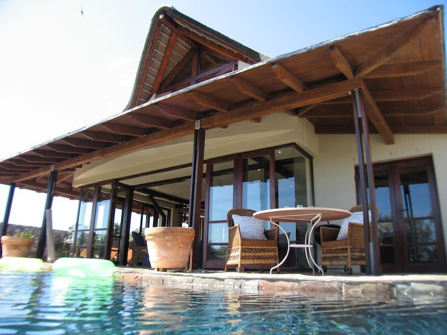 Pool and outside area.