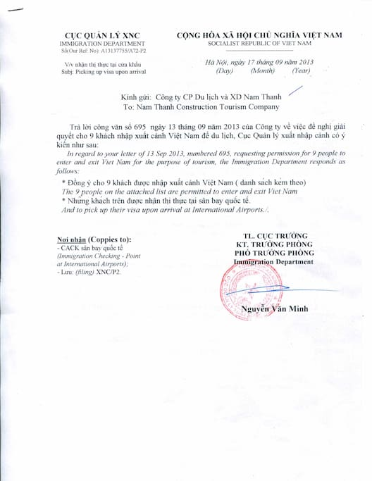 Letter Of Invitation For Visa In Hanoi, Hanoi, Vietnam