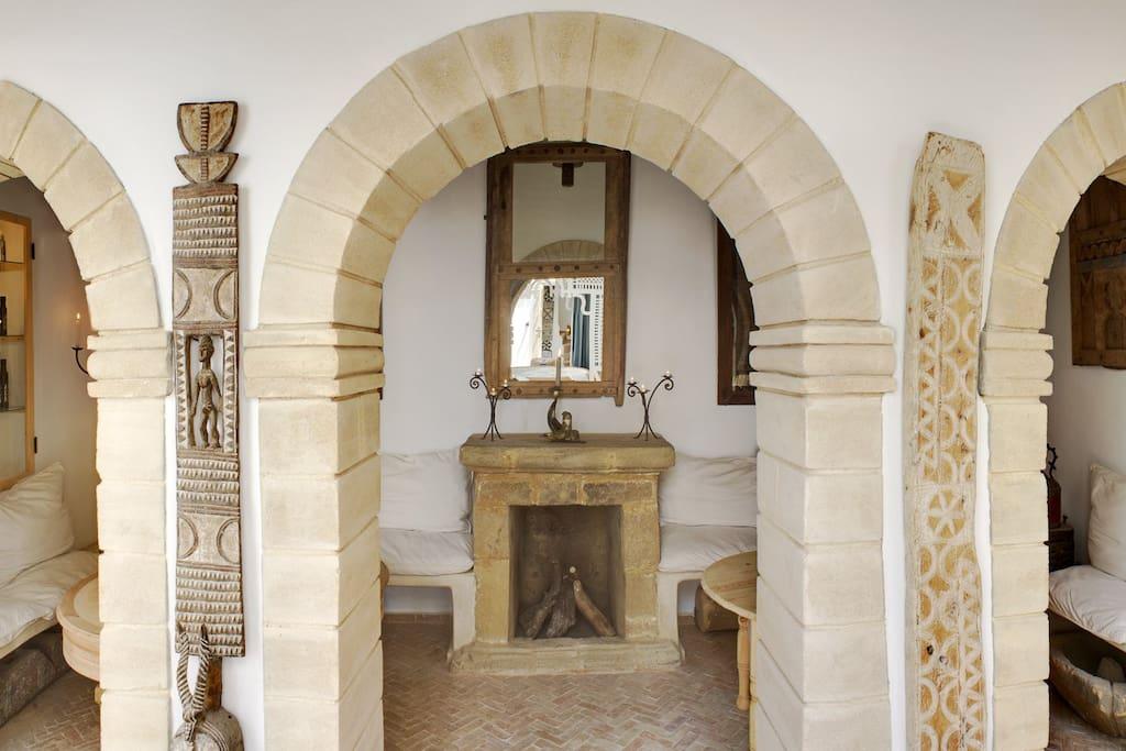 Das Patio. Hier begrüssen wir unsere Gäste und geben Ideen und Tipps für den Aufenthalt in Essaouira.