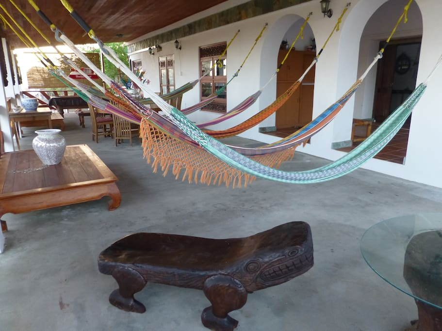 Front porch with 6 hammocks