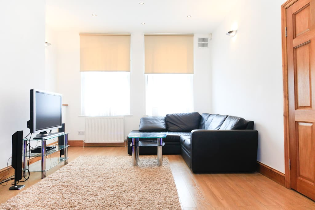 Lovely open plan living space. Wooden flooring throughout.