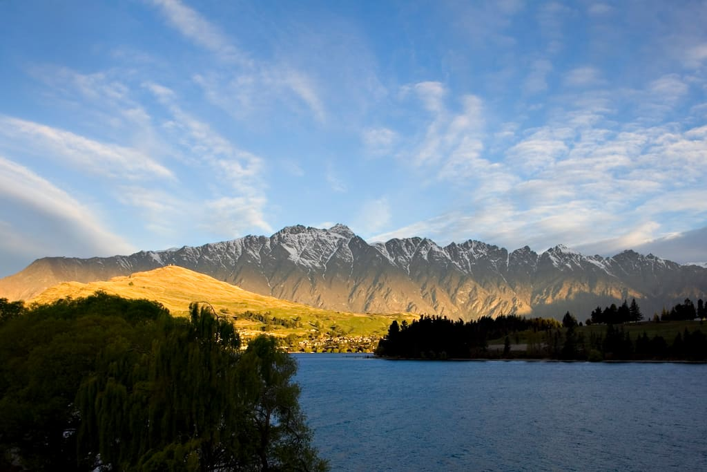 Spectacular views of  Lake Wakatipu and Remarkables mountain. This is the view from the Villa