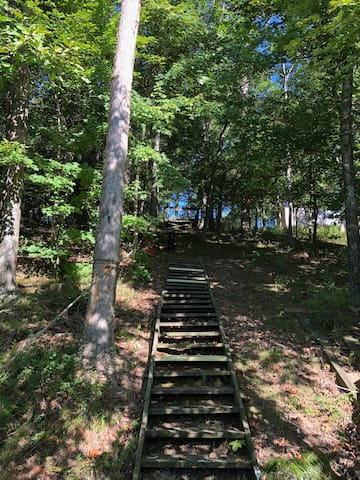 Trail to the dock on the lake is a steep grade (cleared) with wood stairs at the end of the trail to the dock.