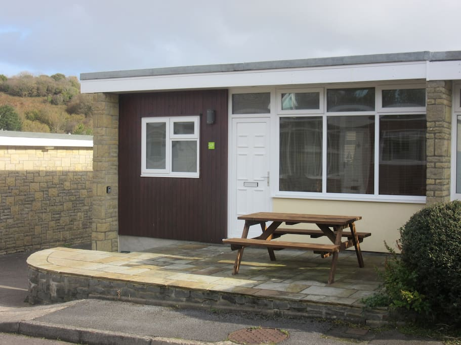 Key safe accessible from steps to Chalet.