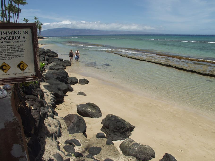 Oceanfront area with two reefs to snorkel in 79 feet from the condo lanai!