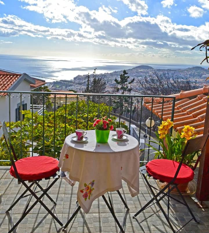 House with one bedroom in Funchal, with wonderful sea view, enclosed garden and WiFi
