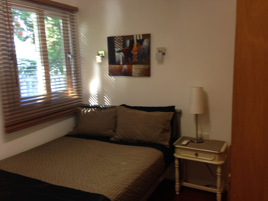Double  bed linen & towels provided; plus vanity; TV; Air con