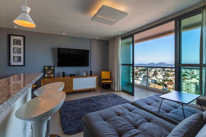 Apartamento de 1 Quarto com vista para o mar
