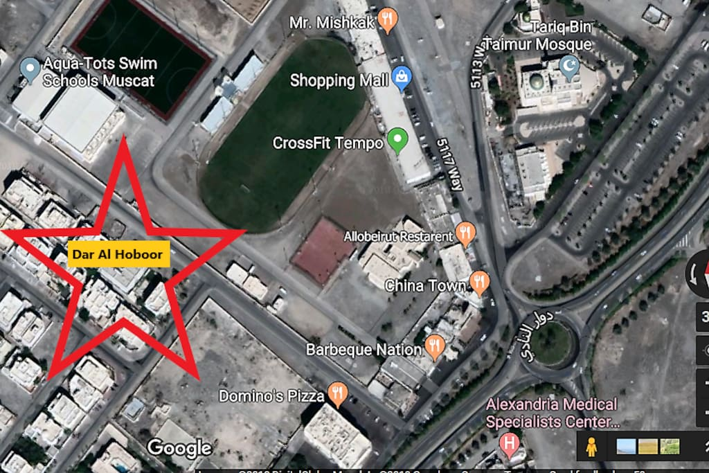 Prime Location with view to the green playground of Seeb Club
