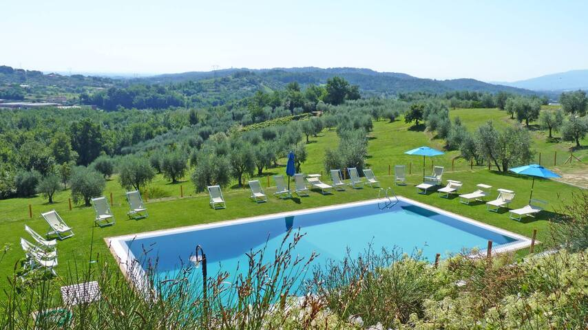 Oasi 1 -Apt. in a stone house with pool. Lucca