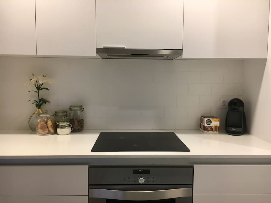 Full equipped, brand new kitchen. You will have your space in the fridge. Feel free to use coffeemaker and to take some croissants in the morning ;)