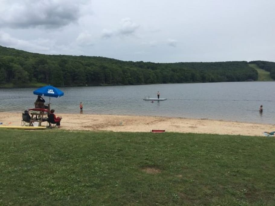 Resort beach at Alpine Lake with life guards