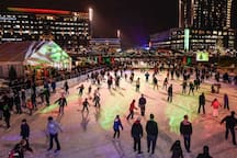 Ice skating in the winter( this rink is larger than Rockefeller Centers!)
