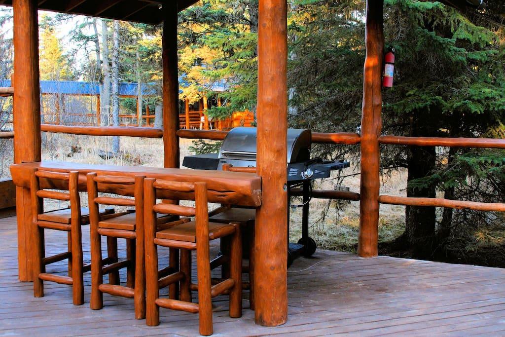 Split-log bar on the BBQ deck.