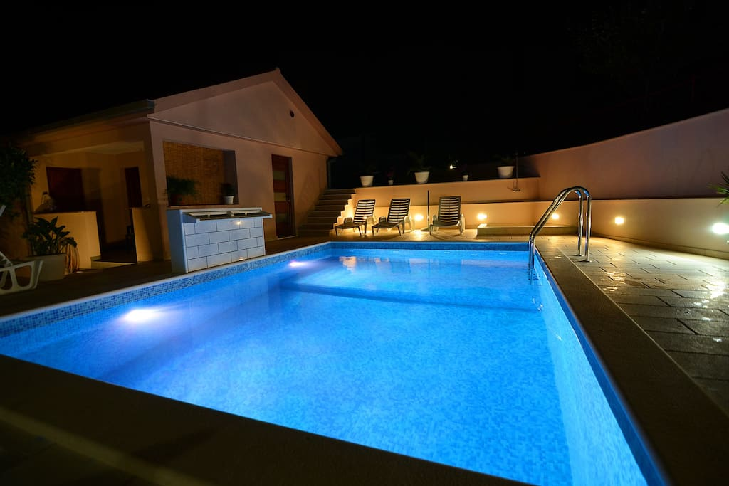 swimming pool in the night