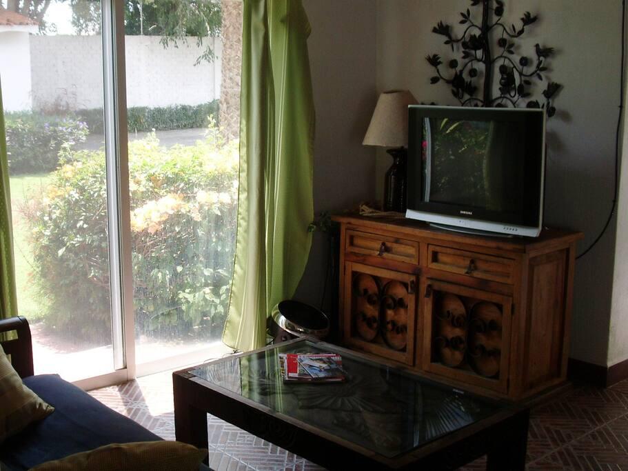 TV area, sliding door access to garden