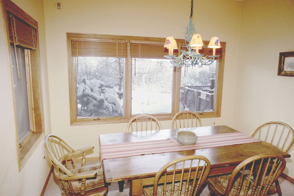 Dining table with ski slope views