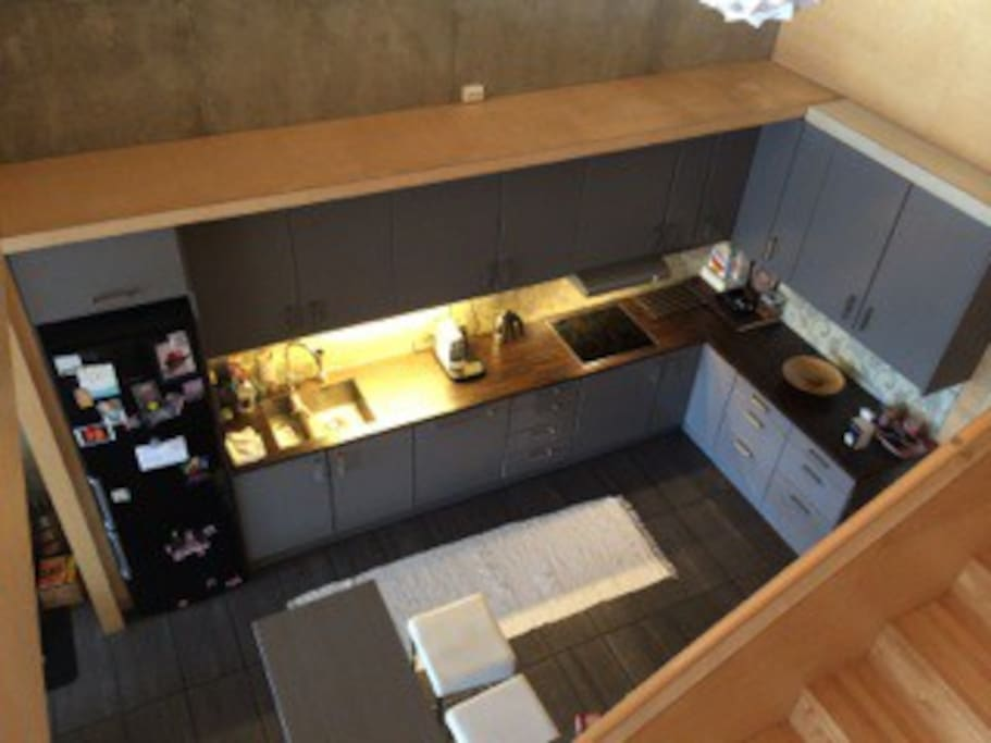 Photo of the kitchen taken fram the second floor