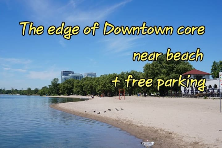 The edge of downtown core + free parking