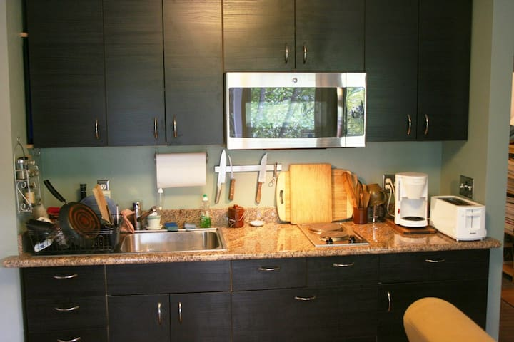 Brand new kitchenette with granite countertop and convection/microwave oven.