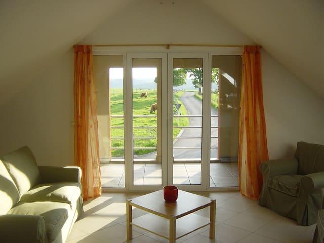 Wohnzimmer und Loggia mit herrlicher Aussicht