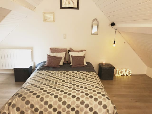Chambre XXL très spacieuse possibilité d'ajouter un lit d'appoint.