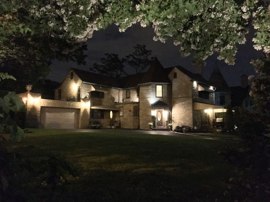 The property is well lit at night.