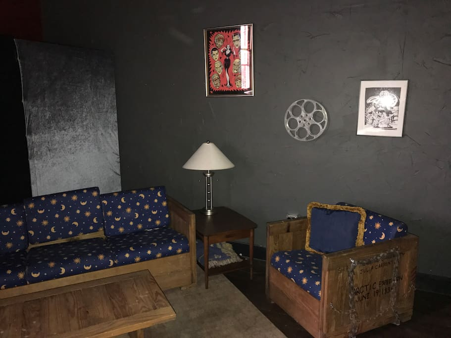 Mitch O Connell artwork, throwback cargo furniture, and a fun homage to the film Creepshow.
