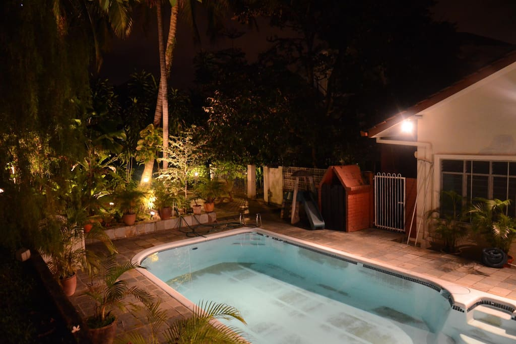 Swimming Pool area at night