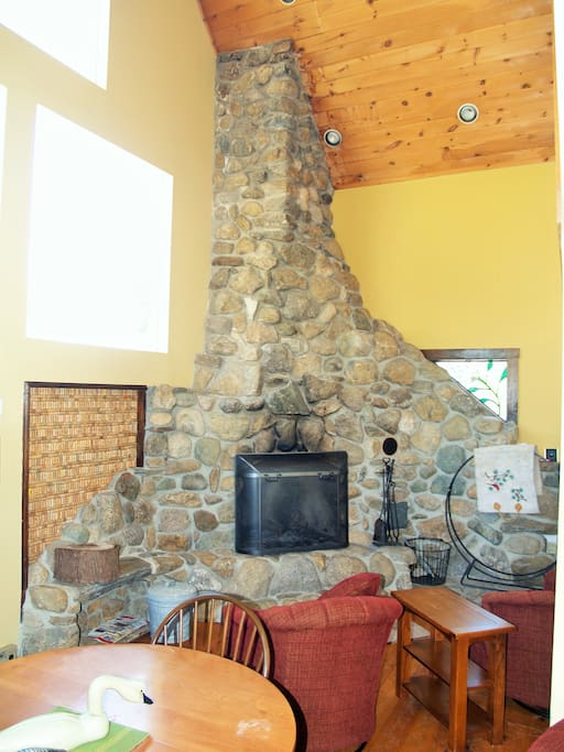 Local fieldstone fireplace in the cathedral lounge.