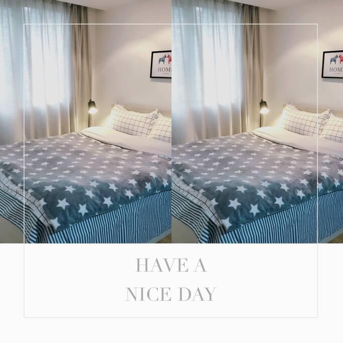 1.5* 2 M标准双人床,纯棉床品,提供应对四季的毛毯、蚕丝被、冰丝被
