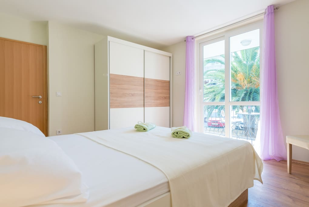 The air-conditioned bedroom with a king-size double bed