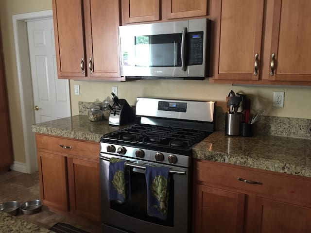 Kitchen with gas stove and microwave!