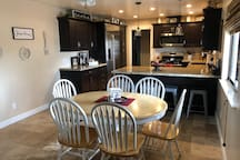The kitchen and dinning area. Seating  for 10