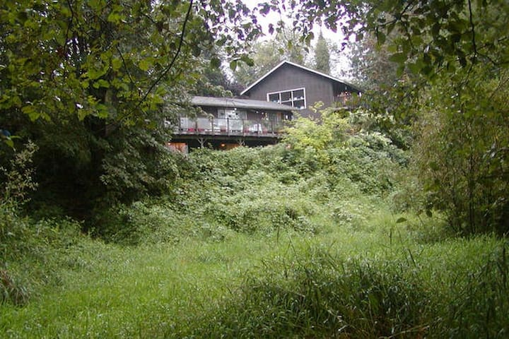 The Lodge and Atelier from the pasture.  The downstairs is hidden from view by blackberry bushes.