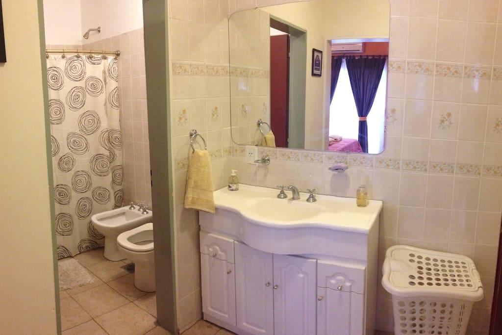 Baño con ducha y antebaño independiente con lavabo.