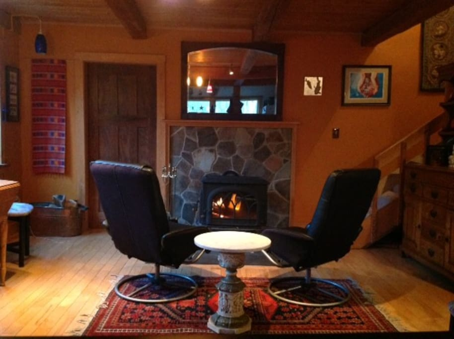 Cozy scene in front of the wood stove.