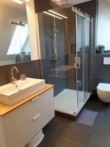 geräumige Dusche und großer Waschtisch im Bad